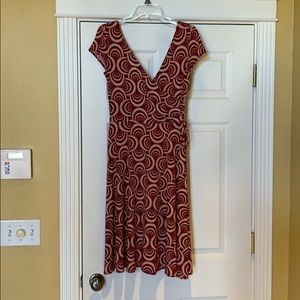 Red dress with designs